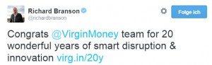 Tweet von Richard Branson zum 20jährigen Jubiläum von Virgin Money